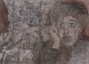 Maleri i Helga Bostens billedserie om Ragnhild Jølsen.
